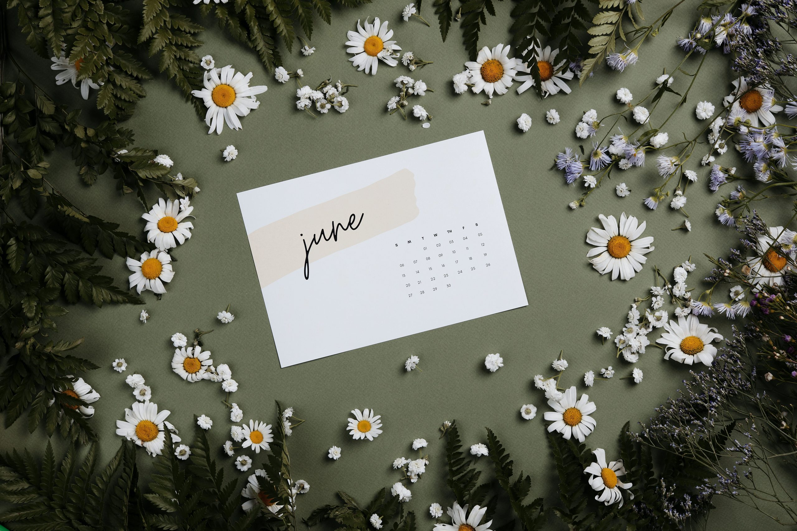 A June calendar surrounded by flowers.